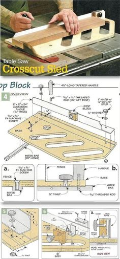 Table Saw Crosscut Sled Table Saw Tips Jigs and Fixtures WoodArchivistcom Woodworking Table Saw, Best Woodworking Tools, Woodworking Workshop, Woodworking Techniques, Woodworking Projects Diy, Table Saw Crosscut Sled, Table Saw Accessories, Garage Atelier, Serra Circular