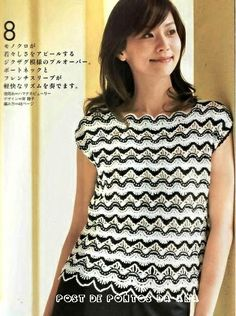.::PONTOS DA ANA::.: Blusa de crochê em preto e branco com ponto ripple...