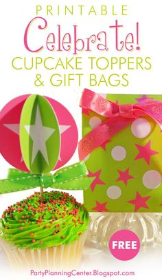 FREE Printable Birthday Cupcake Toppers and Gift Bags Birthday Gift Bags, Birthday Parties, Balloon Designs, Pretty Packaging, Cupcake Party, Christmas Gift Wrapping, Diy Craft Projects, Birthday Decorations, Homemade Gifts