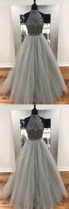 2018 gray tulle long sliver sequins prom dresses, long evening dress