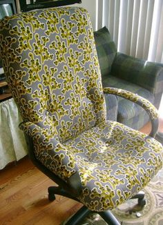 Reupholstering an office chair!! Brilliance!