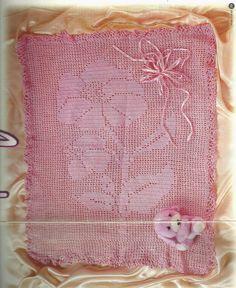 Crochê Tricô do Bebê: Manta em crochê file rosa