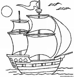 omalovánka loď - Hledat Googlem Easy Drawings For Kids, Drawing For Kids, Art For Kids, Easy Coloring Pages, Coloring Books, Pirate Quilt, Nautical Quilt, Cool Paper Crafts, Ship Drawing