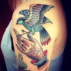 Traditional tattoo. Hand and bird tattoo.  Josh Sutterby