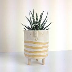 Image of Tripod planter//medium//shiny white stripes