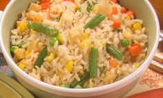 Oriental Rice 1 ½ cup brown rice 3 cups water 2 tablespoons chicken style seasoning ¾ teaspoon salt 2 cups of mixed vegetables (corn, carrots, peas and green beans) 1 recipe Easy Stir Fry Tofu Boil… Easy Stir Fry, Mixed Vegetables, Brown Rice, Plant Based Recipes, Fried Rice, Tofu, Green Beans, Carrots, Oriental