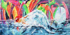 Ángel del agua | Angel of water | Acrílico sobre lienzo | Acrylic on canvas by Pili Tejedo 120 x 60 cm