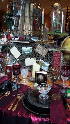 Steampunk themed table decor