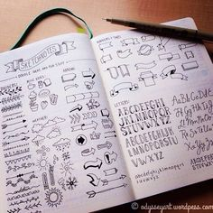 Sketch notes reference guide for hand lettering or bullet journaling Bullet Journal Décoration, Doodle Lettering, Lettering Ideas, Pretty Notes, Wreck This Journal, Sketch Notes, Bullet Journal Inspiration, Smash Book, Journal Pages