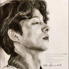 Bts Drawings, Pencil Art Drawings, Creepy Sketches, Goong Yoo, Goblin Kdrama, Diy Hair Treatment, Soft Pastel Art, Yoo Gong, Korean Drama Quotes