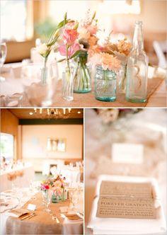 wedding table decor - glitter initial on bottle