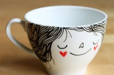 Coffee cup by Heidi Burton. Imagine I use this coffee cup every morning. Crackpot Café, Coffee Cups, Tea Cups, Sharpie Art, Sharpies, Sharpie Projects, Sharpie Markers, Diy Mugs, Baking