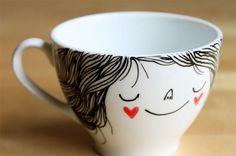 Coffee cup by Heidi Burton. Imagine I use this coffee cup every morning. Cute Coffee Cups, Coffee Mugs, Crackpot Café, Sharpie Art, Sharpies, Sharpie Markers, Diy Mugs, Creation Deco, Ideias Diy