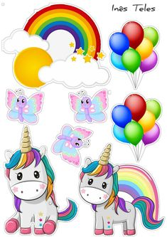 Unicorn Cupcakes Toppers, Unicorn Cookies, Unicorn Cake Topper, Birthday Cake Toppers, Rainbow Dash Birthday, Unicorn Themed Birthday Party, Birthday Party Decorations, Imprimibles Halloween, Unicorn Drawing