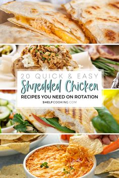 Have a bag of shredded chicken in the freezer? A rotisserie chicken just sitting in the fridge? You're in luck! Find out how to use what you've got – these shredded chicken recipes are easy, yummy, and shelf cooking approved! Chicken Lunch Recipes, Best Lunch Recipes, Dinner Recipes, Dinner Ideas, Keto Recipes, Shredded Chicken Recipes, Quick Easy Meals, Healthy Cooking, Freezer