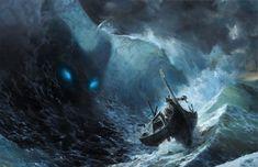 Sea Monsters - Creepy Gallery Kraken, World Serpent, Sea Serpent, Fantasy Kunst, Fantasy Art, High Fantasy, Fantasy Creatures, Sea Creatures, Vikings