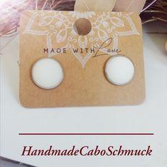 12mm Cabochon Ohrringe Polaris Matt weiß Hänger oder Stecker, Edelstahl oder Bronze
