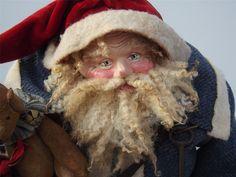 Primitive Handmade Santa & Teddy Bear By Kim Sweet~Kim's Klaus~Vintage Blue Wool Coat~Red Velvet hat