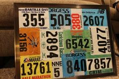 Display your race bibs in a picture frame. Turned out really well! Now my race bibs are on display rather than hidden away in a drawer.