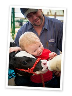 Drew gets a little help from dad Andrew to feed a heifer calf at their #family farm Northern Lights #Dairy in Mandan, N.D.