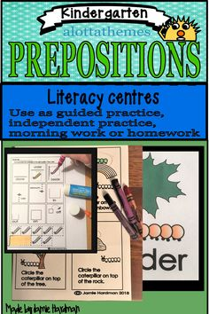 Preposition words tells us where a person, animal, a place or a thing is. This fun hands on low prep package of PREPOSITIONS introduces students to the concept of prepositions in a fun and engaging way by having a cute caterpillar in most of the low-prep printable worksheets. #alottathemes #speech activities #caterpillar Preposition Activities, Speech Activities, Language Activities, Kindergarten Activities, Guided Practice, Prepositions, Morning Work, Printable Worksheets, Literacy Centers