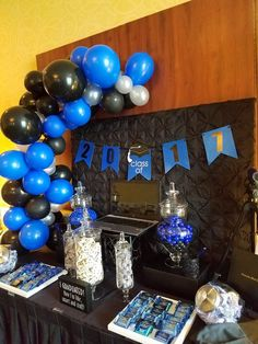 Royal Blue Silver And Black Balloon Garland To Accent