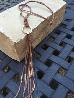 Leather tassel necklace by TracisBeads on Etsy