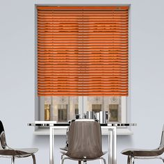 ULTRA Power 12V DC powered Gloss Orange Venetian blind. #Shades #Home #HomeDecor #InteriorDesign #Decor #VenetianBlinds #CreateYourHome #BudgetBlinds #WindowShades #Window #Design #Blind #WindowCoverings #Windows #Blinds #MadeinUK