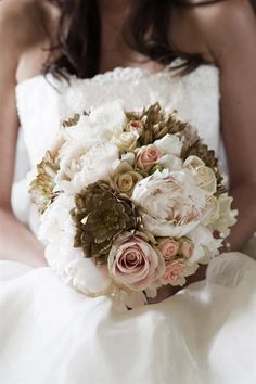 Gorgeous pink and gold bouquet with gold succulents! Gold Wedding Bouquets, Gold Bouquet, Wedding Flowers, Hydrangea Bouquet, Dahlia Bouquet, Ranunculus, Bridesmaid Bouquet, Fall Wedding, Our Wedding