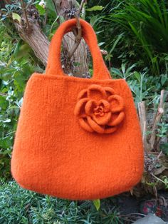 Pumpkin orange felted bag.  Apparently this is a DIY project.  Hmm.  I don't think so.