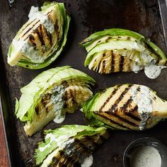 If you want to serve this impressive yet easy side to a crowd, use the whole head of cabbage cut into 8 wedges and double the dressing.