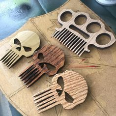 Wooden Beard Comb, Beard Comb, Wide Tooth Comb, Comb Pick, Skull & Knuckles, Punisher, Brass Knuckles, Star Wars, Marvel Comics And More