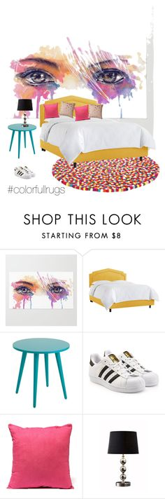 """""""#colorfulrugs"""" by javireyesvanr ❤ liked on Polyvore featuring interior, interiors, interior design, home, home decor, interior decorating, adidas Originals, Bloomingville and colorfulrugs"""