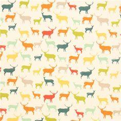colourful deer stag animal organic knit fabric birch USA