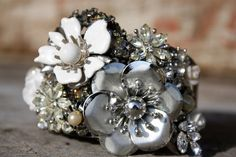 Silver cuff bracelet Vintage brooch collage cuff by thepaisleymoon, $70.00