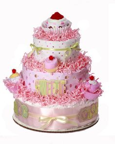 Image detail for -Cupcake diaper cake-Baby diaper cake-Baby shower cupcake diaper cake