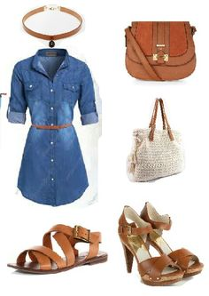 Nice casual outfit idea with denim dress and a selection of accessories which one will you choose?? Built with #fashiersapp #fashiontrends
