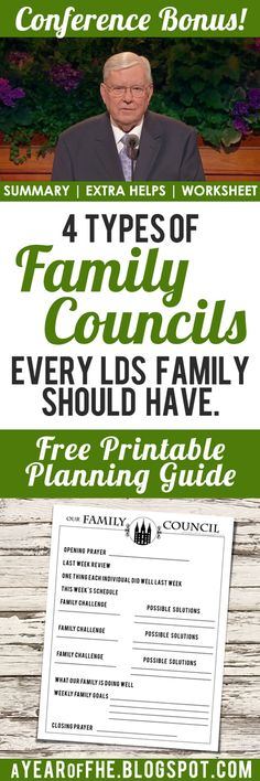 A Year of FHE // FREE PRINTABLE inspired by #MRussellBallard and his talk at #LDSconf about Family Councils. #lds