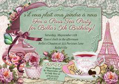 Paris Tea Party, Parisian Themed Tea Party, Tea Party Invitations on Etsy, $13.00