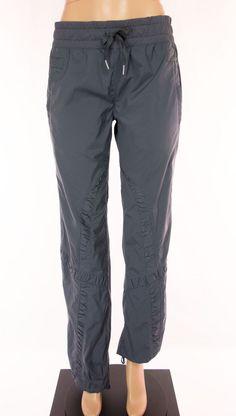 LULULEMON Ruffle Pants Size 8 M Gray Track Splash Drawstring Hem Rare #Lululemon #PantsTightsLeggings