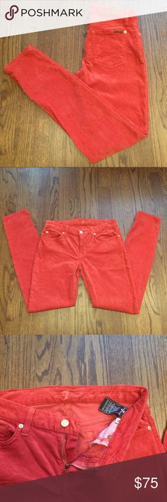 "7 For All Mankind Corduroys Burnt orange mid-rise corduroys in ""the Skinny"" from 7 For All Mankind. Perfect for fall! No signs of wear, excellent condition. 7 For All Mankind Pants Skinny"