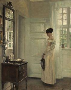 CARL HOLSOE (Denmark) 1863-1935, Salongsinterir med kvinna.