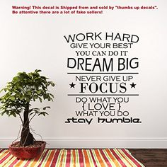 Wall Decal Quote Work Hard Dream Big Never Give up Stay Humble Decal Teamwork Vinyl Stickers Home Bedroom Motivation Quote Decor T176 *** Find out more about the great product at the image link.