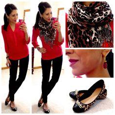 Hot pink chiffon blouse Skinny Dress Pants Leopard print flat Leopard print scarf Skinny black watch Earrings