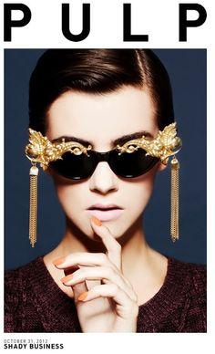 Mercura NYC golden baroque tassel sunglasses also features in Vogue Japan
