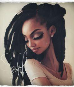 """Polaroid Series"" - Pomona Sisouk {figurative art beautiful female head #naturalhair dreads african-american black woman face portrait digital painting #loveart}"