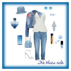 """""""The blues rule"""" by michelechambers ❤ liked on Polyvore featuring 7 For All Mankind, Alexandre Birman, Salvatore Ferragamo, Illesteva, Maison Michel, Casetify, OMEGA, Burt's Bees, Topshop and JINsoon"""