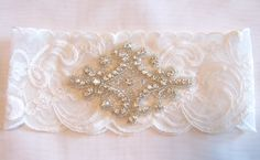 Bridal Garter Lite Ivory Stretch Lace Wedding by BridalbyVanessa, $26.00