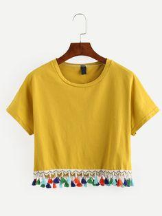 Yellow Tassel Trimmed Crop T-shirt                                                                                                                                                      More