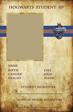 Hogwarts Student ID - Ravenclaw... great for Harry Potter party xD